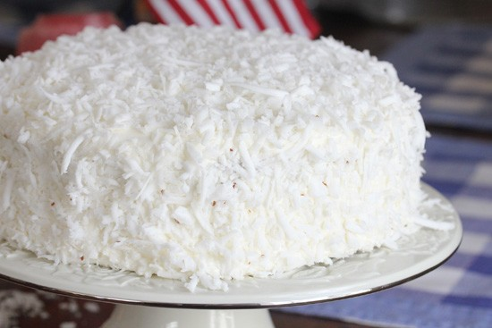 Coconut Dusted Cake with Cooked Frosting