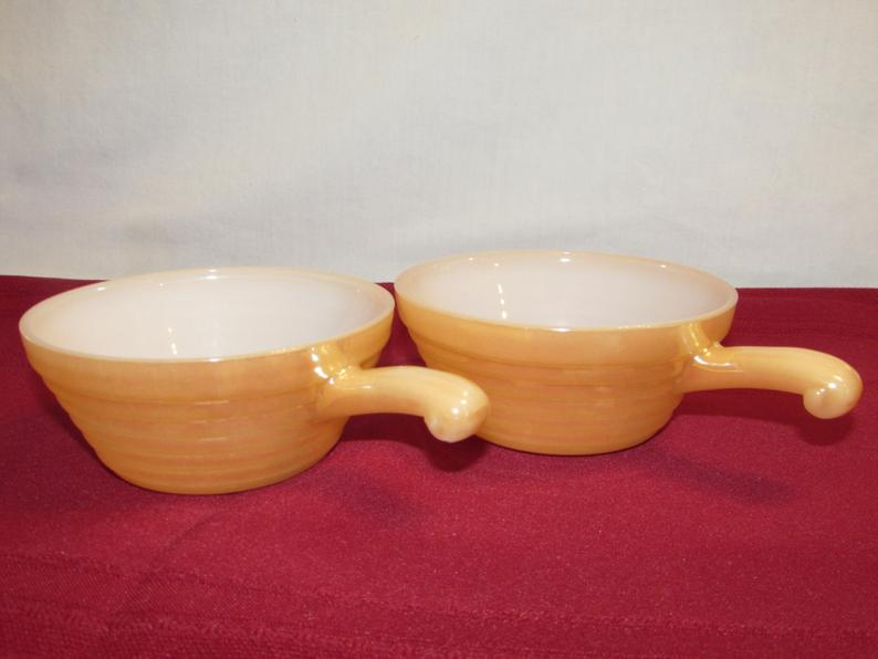 ire King Peach Luster Handled Bowls