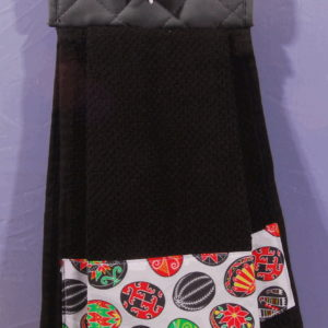 black pysanky hanging towel
